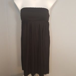 Black Strapless Pleated Bottom Dress